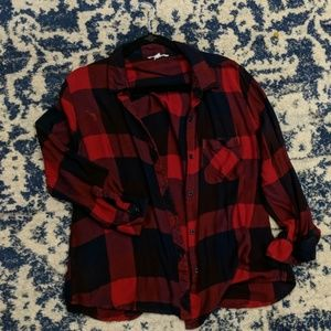 Navy and red button up flannel